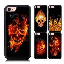 Fire Skull Skeleton Painted Case for iPhone 6 6S Luxury PC+TPU Flower Printing Protective Case for iPhone 7 7 Plus Shell(China)