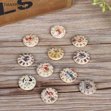 15mm 50pcs/lot  British Fashion wooden buttons 2-holes Clock button Sewing Scrapbooking DIY Clothing Accessories