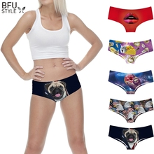 Buy Womens' 3D Animal Print Cute Underwear Briefs Dog Animal Printing Female Sexy Panties Briefs Panty Lingerie Intimates