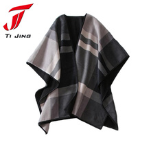 2017 New Women Clothes Fashion Cashmere Oversized Sweater Plaid Knit Cape Cloak Poncho Cloak Shawl Scarf Female Hot Sale L245