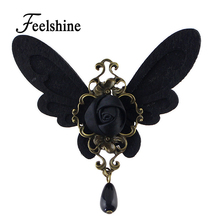 Vintage Style Black Butterfly Design Antique Gold-Color Flower Retro Brooches For Women Accessories