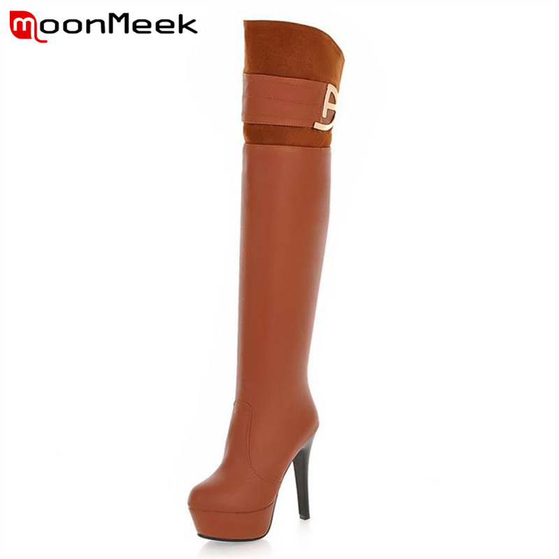 Winter new buckle sexy fashion platform sexy stiletto high heels over the knee boots pointed toe solid thigh high long boots<br><br>Aliexpress