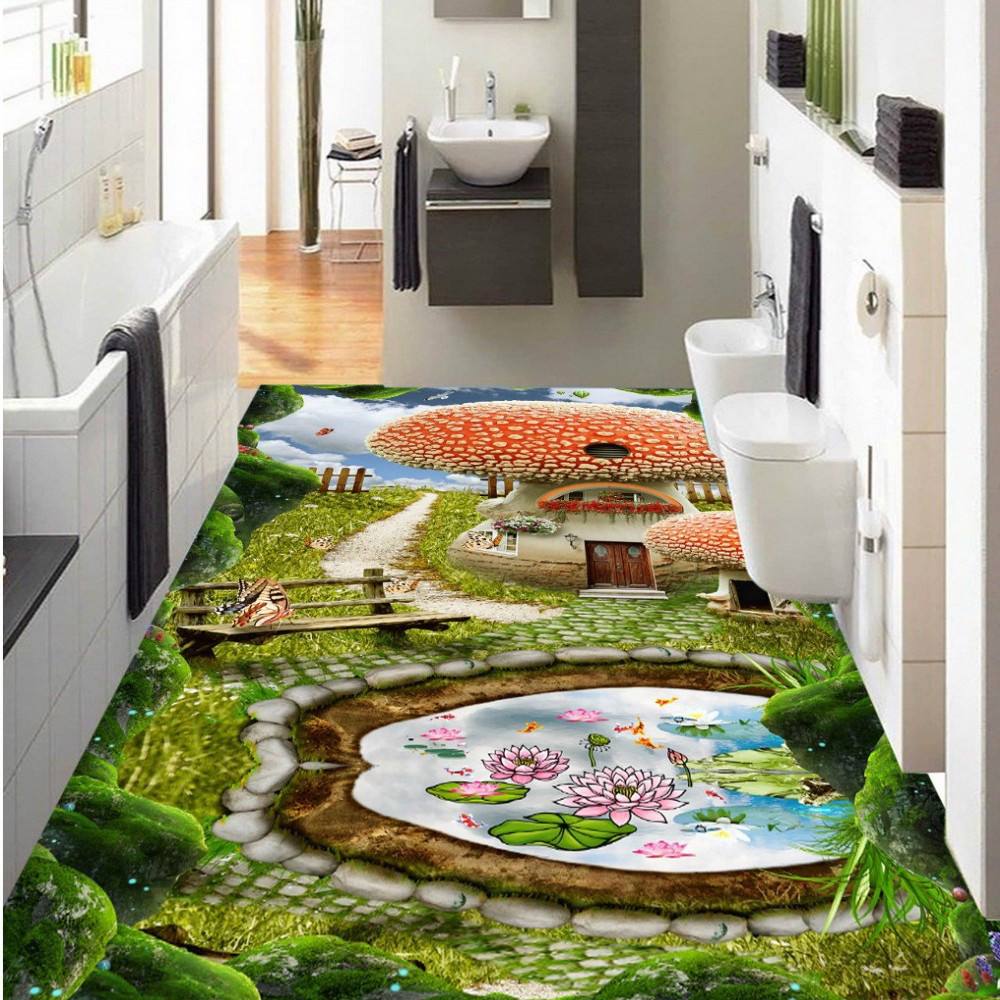 Free Shipping cartoon fantasy forest path 3D floor painting custom children room living room floor sticker<br><br>Aliexpress