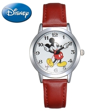 New Mickey Mouse Cuties Waterproof Watch Clever Boy Girl Love Black Red Wristwatch Student Young Sports DISNEY Brand 11027 Clock(China)