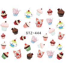 SWEET TREND 1Sheet Fruit Cake Designs Nail Stickers Water Transfer Nail Art Tattoo Beauty Stickers Manicure Decals DIY LASTZ444
