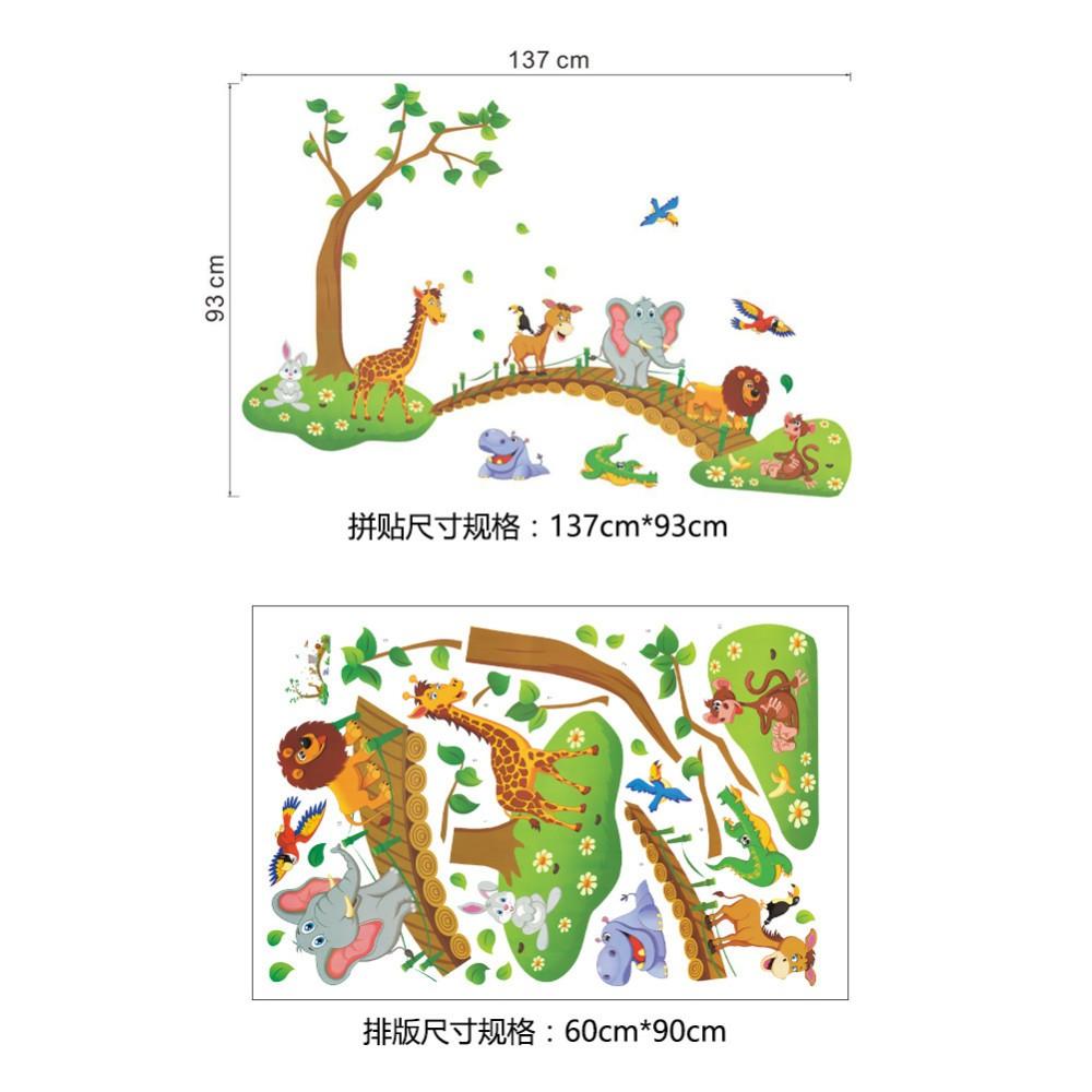 HTB1iU7RbPuhSKJjSspaq6xFgFXaz - 3D Cartoon Jungle wild animal tree bridge lion Giraffe elephant birds flowers wall stickers for kids room living room home decor