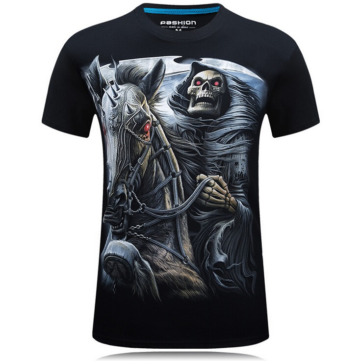 S-6XL 20 style Mens 3d Skull Cotton T Shirts Fashion 2017 Summer New Brand T Shirt Men Hip Hop Men T-Shirt Casual Fitness Swag