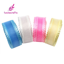 Lucia crafts 25mm Organza Lace Ribbon DIY For Packing Hair Bow Trim Sewing Ribbon Decoration Material 5yards/lot D040014004009(China)