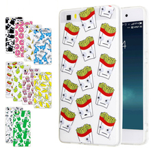 Luxury Soft TPU 3D Cute Cartoon Eyes Move Mouse Cat French Fries Banana Popcorn Phone For huawei P8 P9 Lite Cases Cover