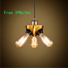 VIntage Loft Industrial Three lamp Retro Classic Edison Personalized bar Lighting counter pendant lights +3 * E27 BULBS