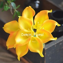 Yellow Orange Calla Lilies Real Touch Flowers For Silk Wedding Bouquets, Wedding Decorations Artificial calla lily(China)