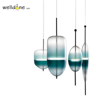 Modern Scandinavia Nordic Green Hand Blown Glass Venice Flow Suspension light Pendant lamp Lustre for Dining Room Bedroom(China)