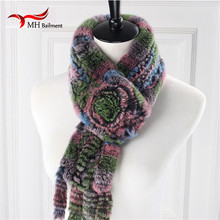 Scarf Women Fashion Knitted Rex rabbit Fur Scarf With A Flower For Women in winter Multicolor Fur Shawl Tie fur scarf S#10