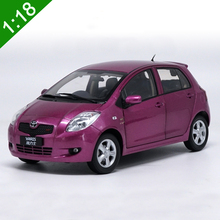 High Simulation 1:18 Toyota Yaris 2008 Diecast Car Model Purple Color Car Model For Baby Toy Gifts Free Shipping