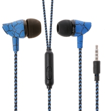 OOTDTY Crack Pattern Nylon Braided Wire 3.5mm In-Ear Earphone Headset With Mic(China)