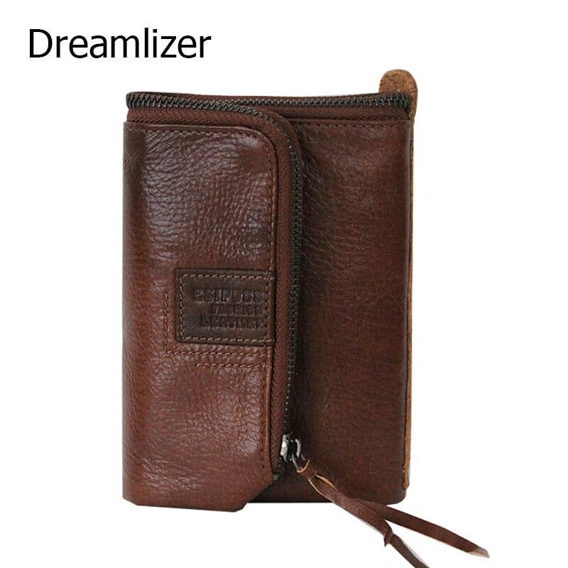 Dreamlizer Trifold Cowhide Leather Men Wallet Purse Middle Long Coin Bag Wallet Male Card Holder Designer Money Bag<br>