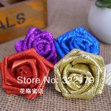 10 pcs Glitter Flowers Foam Rose Heads Artificial Flowers Gold Royal Blue Purple Red