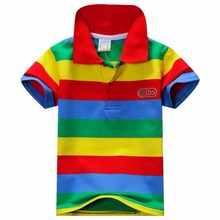 New Summer 1-7Y Baby Children Boys Striped T-shirts Kids Tops  Tee Polo Shirts Clothing