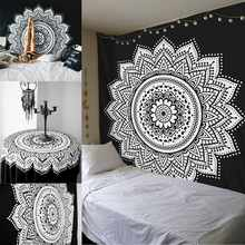 210X148cm Indian Mandala Table Cloth Wall Hanging Tapestry Polyester Bohemian Bedspread Yoga Mat Cover Carpet Home Textiles