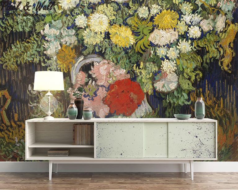 A bouquet of flowers in a van gogh bottle mural photo home accessories decoration living room decoration STDM30593 17
