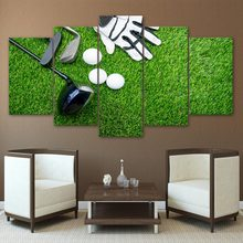 Canvas Wall Art Pictures No Framed Living Room Decoration 5 Pieces Golf Gloves Clubs Balls Modular HD Printed Poster Painting(China)