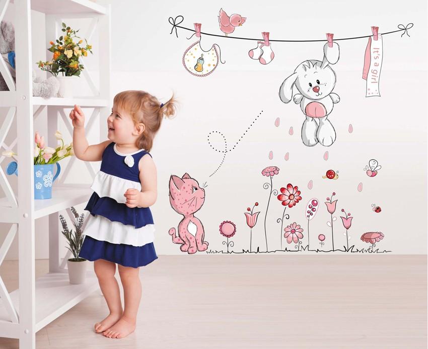 HTB1iUGqkOqAXuNjy1Xdq6yYcVXak - Pink Cartoon Cat Rabbit Flower Wall Sticker For Baby Girls Kids Rooms