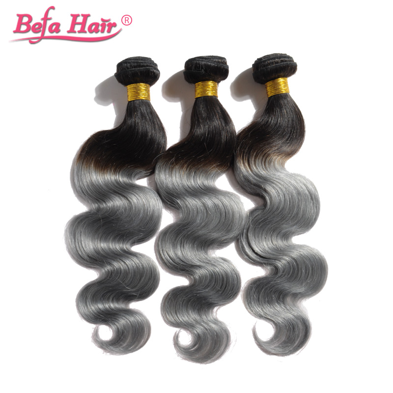 2pcs New hair style 1b grey ombre hair extensions body wave ombre grey hair weave 6a grey brazilian virgin hair free shipping<br><br>Aliexpress