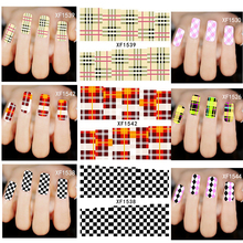 30Sheets Mixed Grids Plaid Image Full Patch Nail Art Water Transfer Sticker Tips NEW Beauty Decals Decorations XF1518-1544