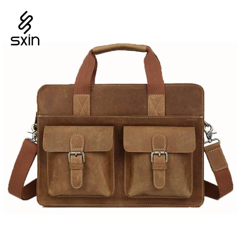 Genuine Leather Mens Briefcase Handmade Cowhide  Vintage Business Laptop Briefcase Suitcases Mens Travel Bags maletas 1080<br><br>Aliexpress
