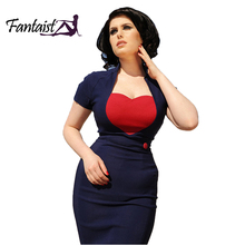 Fantaist Women Vintage Rockabilly Cocktail Party Pinup Patchwork Sweetheart Casual Work Wear Bodycon office Midi Pencil Dress