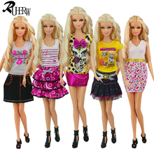 5 Pcs / lot Beautiful Sexy Dress Casual Wear Party Gown Clothes For Barbie Doll Free shipping(China)