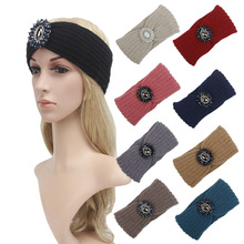 9 Colors Fashion Ladies Jewel Hair Accessory Women Winter Warm Turban Headband Crochet Headwrap Knit Beanie(China)
