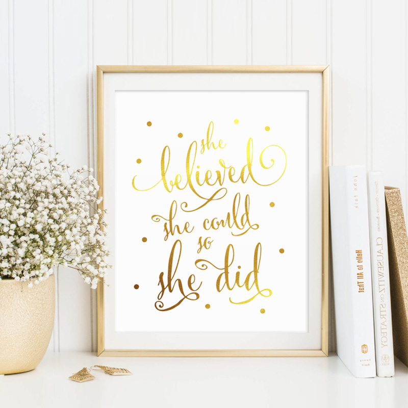 Aliexpress.com : Buy Real Gold Foil She Believed She Could So She ...