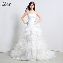 Vestido De Noiva White Ivory Wedding Dresses 2017 Sweetheart Sweep Train Floor Length Pleat Ruffles Bride Dress Bridal Gown(China)