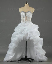 W1088 High Low With Train Ivory White See Through Bead Long Back Short Front Wedding Dresses Transparent