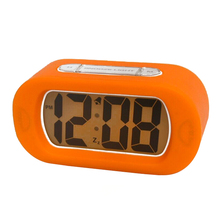 Student Large Screen LED Digital Alarm Clock Mute Snooze Silicone Alarm Clock with Backlight (Orange)(China)