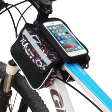 Waterproof Mountain Bike Bicycle Bags Road Bike Frame Front Tube Panniers Touch Screen Cycling 5.5 inch Phone Bag Case