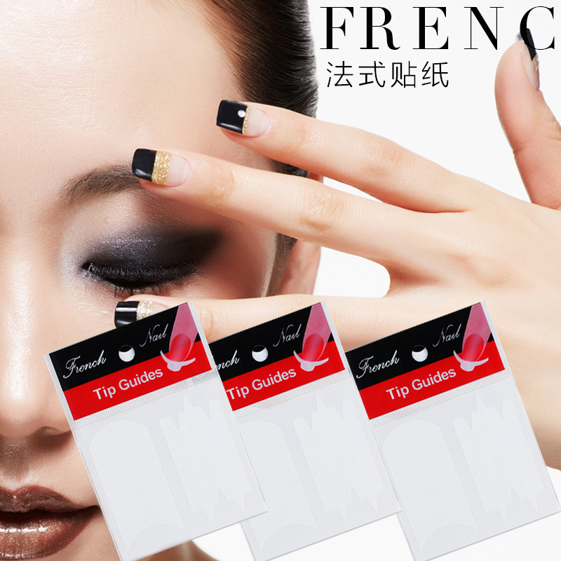 24pcs French Nail Sticker DIY Manicure Nail Art Decorations Tips Guides Stickers Stencil Strip Decals Form Fringe<br><br>Aliexpress