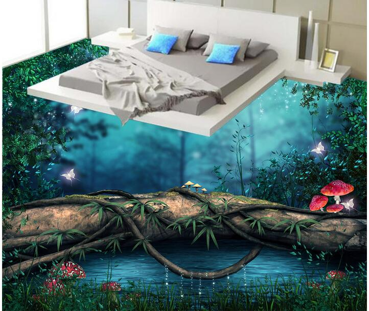 3d pvc flooring custom photo Waterproof floor wall sticker Forest wooden bridge decoration painting 3d room murals wallpaper<br>