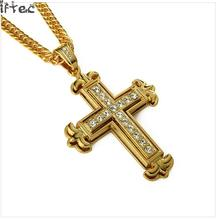 news 2017 crystal cross pendant men's gold chain silver plating necklace hip hop jewelry religious style N158(China)