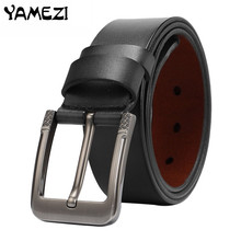YAMEZI 2017 Newest designer belts men high quality cow genuine leather vintage pin buckle ceinture mens belts luxury H05(China)