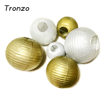 Tronzo Wedding Decoration Paper Lantern 8/10/12/14 Inch Gold Silver Birthday Party Decorations White Chinese Lantern Supplies(China)