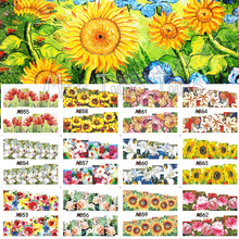 12 Styles Nail Art Large Water Transfer Nail Stickers Decal Tips Watermark Flower Design Peony Sunflower Painting Decorations