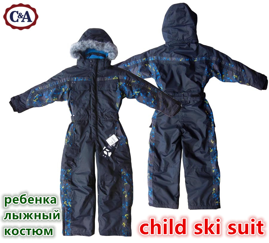 winter Rompers boys Snow Suit kids outdoor waterproof coat children hood skiwear girls overall windproof jumpsuit cotton padded<br>