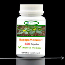 2017 New Natural Bacopa Monnieri Extract, Improve Memory,Brain Supplement,Concentration,Focus, free shipping - 100pieces/bottle(China)