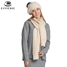 CIVICHIC High Quality Lady Winter Chic Rabbit Hair Wool Knit Scarf Hat 2 Piece Pompon Beanies Thicken Headwear Solid Shawl SH148(China)