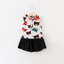 New Fashion Girls Clothing Sets Sleeveless Shirt+Skirt 2pcs/Set Cute Kitty Mini Skirt Set Summer Baby Girls Clothes