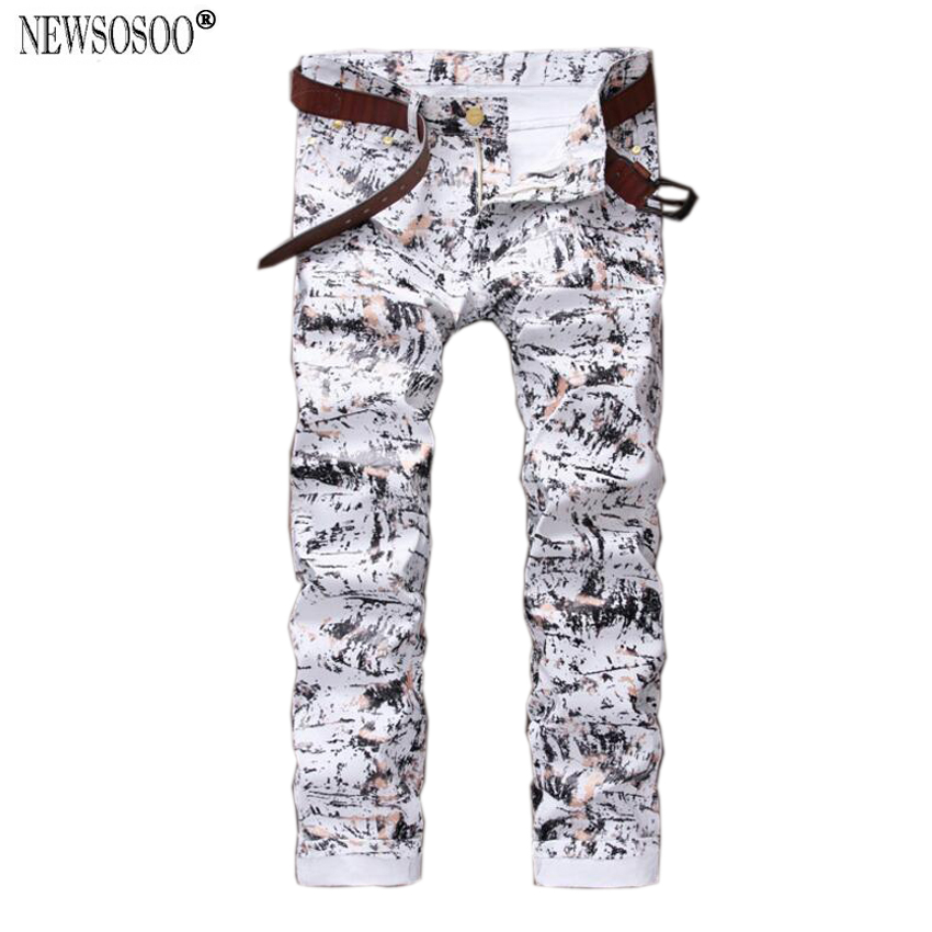 Newsosoo brand Imitation PU fabric graffiti printed jeans men ningtclub young mens Micro-stretch pencil jeans homme MJ120Одежда и ак�е��уары<br><br><br>Aliexpress