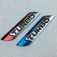 Blue Red TURBO Badge Emblem Car Styling Trunk Logo Chrome Metal 3D Sticker for BMW Benz VW Audi Honda Toyota Nissan Ford Mazda