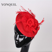 NEW ARRIVAL 15colors red imitation sinamay fascinator hats feather wedding headwear occasion Church hat bridal hair accessories(China)